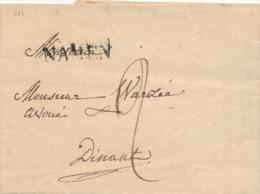 842/29 - Lettre Précurseur De NAMEN 1826 Vers DINANT - Signée Donsechamps (?) - Port 2 Décimes - 1815-1830 (Dutch Period)
