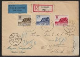1943 NORWEGEN - N. HOLLAND - SANDNES LUFTPOST R-Brief ZENSUR. Mi.408-410 - Norwegen