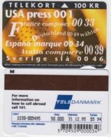 Denmark Phonecard - Superb Fine Used Phonecard 100u Call USA - Denemarken