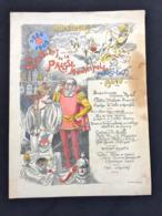 Grand Menu Illustré Stick 1909 Syndicat De La Presse Parisienne Au Palais D'orsay - Menú