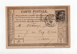 !!! CARTE PRECURSEUR TYPE SAGE CACHET PARIS DISTRIBUTION DE 1877 - Precursor Cards