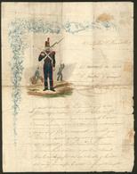 Lettre. Lettre De Soldat. Polychrome Sur Lettre 1er Régiment Du Génie De Montpellier 2 Avril 1830, Avec Texte Sur 4 Face - Cartes Postales