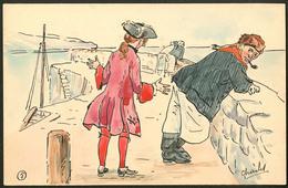 """Lettre. Illustrations à La Main. """"Marins Au Port"""". CP Aquarelle Et Plume, Neuve, Signée """"Charles"""". - TB - Cartes Postales"""