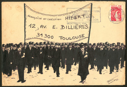 """Lettre. Illustrations à La Main. """"Manifestation"""". Enveloppe 183x123mm, Illustration Encre De Chine, Afft N°1974 Obl 22.1 - Cartes Postales"""