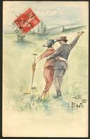 """Lettre. Illustrations à La Main. """"Couple D'amoureux à La Campagne"""", CP Aquarelle Et Plume Signée """"Marc"""", Voyagé. - TB - Cartes Postales"""