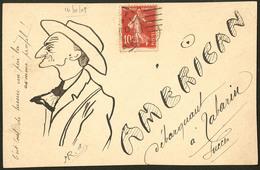 """Lettre. Illustrations à La Main. """"American"""". CP Humoristique à La Plume, Voyagé Afft 138. - TB - Cartes Postales"""