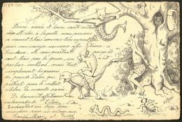 """Lettre. Illustrations à La Main. """"Les Gnomes Du Pays De Davos"""". CP Fantastique Suisse à La Plume, Signée """"Titine"""", Voyag - Cartes Postales"""