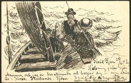 """Lettre. Illustrations à La Main. Pêcheurs Suédois"""". Entier Suède, Illustration Plume, Voyagé Juin 1902. - TB - Cartes Postales"""