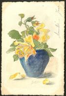 """Lettre. Illustrations à La Main. """"Bouquet De Fleurs"""", CP Aquarelle, Voyagé Afft N°138. - TB - Cartes Postales"""