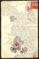 """Lettre. Illustrations à La Main. """"Pensées"""", CP Aquarelle, Voyagé Afft N°138. - TB - Cartes Postales"""