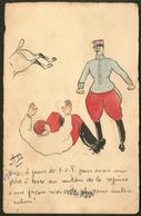 """Lettre. Illustrations à La Main. """"Chute De Cheval"""". CP Humoristique Militaire, Aquarelle Et Plume, Signée """"AD"""", Voyagé A - Cartes Postales"""