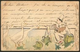 """Lettre. Illustrations à La Main. """"Pierrot Peignant Des Oies"""", CP Aquarelle Et Plume, Voyagé Afft 111(2). - TB - Cartes Postales"""