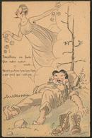 """Lettre. Illustrations à La Main. """"La Sieste"""". CP Humoristique Suisse Sur Carton épais, Voyagé Afft Suisse. - TB - Cartes Postales"""