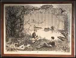 """Calendrier De 1885, Illustration """"Déjeuner Sur L'herbe"""", Encadré 43x33cm. - TB - Cartes Postales"""