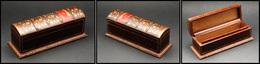 Boîte En Cuir En Forme De Tranche De Livre Ancien, 1 Comp., 160x50x60mm. - TB - Boites A Timbres