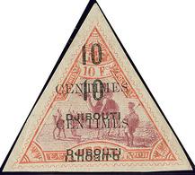 """* Double Surcharge Dont Triple """"DJIBOUTI"""" Dont Un Renversé. No 33a, Pli D'angle Sinon TB. - R - French Somali Coast (1894-1967)"""