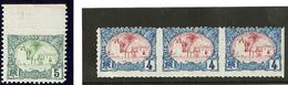 ** Variétés De Piquages. Nos 39 Bdf (dentelé 3 Côtés), 40 Bande De Trois Non Dentelée Vertical. - TB - French Somali Coast (1894-1967)