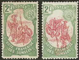 * Variétés. Nos 51 Centre Renversé, 51a Sans Le Nom Du Graveur. - TB - Côte Française Des Somalis (1894-1967)