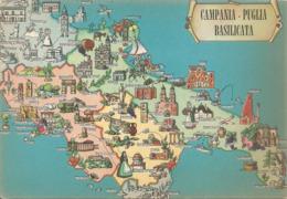 Cartolina Con CARTA TURISTICA DI CAMPANIA - PUGLIA - BASILICATA - FORMATO GRANDE - (rif. I61) - Cartes Géographiques