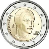 Italie  2019  2 Euro Commemo    200 Jaar Leonardo Da Vinci    UNC Uit De Rol  UNC Du Rouleaux !! - Italien