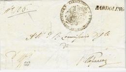 1837 - LOMBARDO-VENETIE - Lettre De BARDOLINO   ( Voll. 1 ) Noir Pour Villafranca - ...-1850 Voorfilatelie