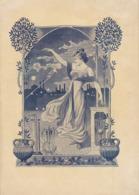 Menu Illustré Art Nouveau Par Thiriet Science Physique Banquet Des Ingénieur Electricien En 1901 Au Palais D'orsay Batte - Menükarten