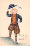 Timbres - N°60449 - Collage De Timbre - Souhaits De Bonheur - Jeune Homme - Timbres (représentations)