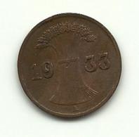 1933 - Germania 1 Reichspfennig A - [ 4] 1933-1945 : Troisième Reich