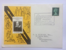 GB 1968 Commemoration Of Shakespeare`s Birthday Sent To Wolverhampton - 1952-.... (Elizabeth II)