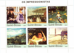 Guinea - Bissau 2003 -  Renoir, Boudin, Caillebotte, Seurat, Guillaumin, Coubert 6v Y&T 1324-1329, Michel 2315-2320 - Guinea-Bissau