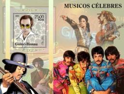 Guinea - Bissau 2005 - Famous Pop Stars Eltohn John, M. Jackson, F. Zapa, The Beatles S/s, Y&T 287, Michel 3147/BL522 - Guinea-Bissau