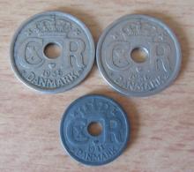 Danemark / Danmark - Lot De 3 Monnaies Modernes Dont Rare 25 Ore 1935 + 1936 + 10 Ore 1941 - TTB / SUP - Danemark