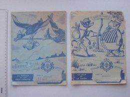PROTEGE-CAHIER Ancien MENIER: FABLE DE LA FONTAINE Lot 2 Différents Même Série - Le Loup Et Le Chien La Tortue Et Canard - Book Covers