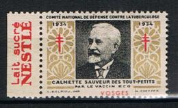"""FRANCE : Timbre Antituberculeux 1934 ** Avec Vignette """"lait Sucré Nestlé"""" - - Erinnophilie"""