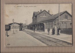 CPA 59 - BAVAY - La Gare , Vue Des Quais - TB PLAN Intérieur Et Vue Sur La Voie + ANIMATION + TB Verso 1914 - Bavay