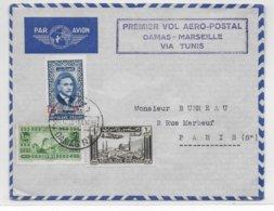 1938 - SYRIE - ENVELOPPE  De DAMAS Par AVION - 1° VOL AEROPOSTAL DAMAS - MARSEILLE Via TUNIS => PARIS - Airmail