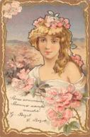 CPA GAUFFREE JEUNE FILLE AVEC FLEURS 1904 - Donne