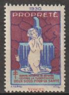 """FRANCE : Timbre Antituberculeux 1930 ** """"Propreté"""" - - Erinnophilie"""
