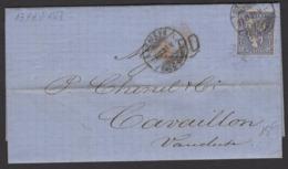 SUISSE : Rare Guerre De 1870 Pli De Dusseldorf 13 FEV 71 Avec 30C Outremer Oblt CàDate GENEVE + Entrée Rouge > CAVAILLON - 1862-1881 Helvetia Assise (dentelés)