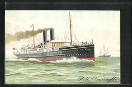 Lithographie Passagierschiff R.M.S. Connaught Auf Dem Meer, City Of Dublin Steam Packet Co. - Paquebots