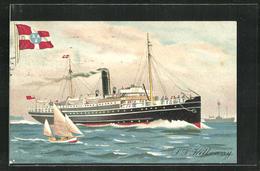 Lithographie Passagierschiff S.S. Kilkenny In Schneller Fahrt Neben Segelboot, Fahne, City Of Dublin Steam Packet Co. - Paquebots
