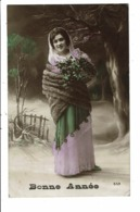 CPA-Carte Postale -France Bonne Année- Une Jeune Femme Bien Emmitouflée 1914  VM6230 - Nieuwjaar