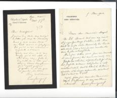 LEON BOURGEOIS  1851 - 1925  Autographe  : 1902 à Armand Dayot  - + 1 Autre , écrite à Oger - Autogramme & Autographen