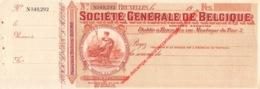Société Générale De Belgique Cheque - Format 28,5x10cm - Banque & Assurance