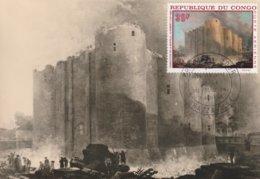 Carte Maximum  -  Démolition De La Bastille - Brazzaville