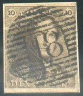 N°1 - Epaulette 10 Centimes Brun, Marges Maxima Et Sur Petit Fragment, Obl. P.18 BINCHE Idéalement Apposée. Léger Gratta - 1849 Epaulettes