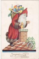Joyeux Noël / Père Noël (Santa Claus) Sur Le Toit Distribuant Les Cadeaux (Jouets) - 1940 - Santa Claus