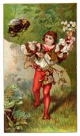 RARE Chromo Imprimerie Lithographique Th Dupuy & Fils Paris Carte Représentant Avis Passage Mr Kahn Abeille Insecte - Chromos