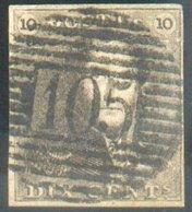 N°1 - Epaulette 10 Centimes Brun, Marges Maxima Et Splendide Obl. P.105 Saint-NICOLAS Idéalement Apposée. - TTB  14552 - 1849 Epaulettes