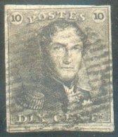 N°1 - Epaulette 10 Centimes Brun, Marges Maxima Et Voisin, Obl. P.25 CHARLEROI Finement Apposée. - TTB  14553 - 1849 Epaulettes
